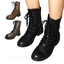 Ankle Boots BLACK Flat Lace Up Zip Military Combat Victorian Steampunk Mid Retro