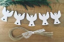 Xmas Tree Decoration Rustic Nordic White Wooden Hanging 5 x Angel