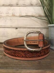 mens Nocona Hand Tooled Genuine Leather Floral Embossed Belt Tan Size 42
