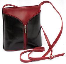 Damen italienisch echt Leder Umhängetasche schwarz rot Schultertasche TraumSchön