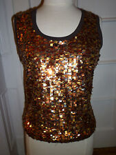 NWOT: ESCADA SPORT Sequin Sleeveless, Scoopneck Top, Brown w/  Orange & Gold, Lg