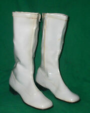 RETRO GO GO BOOTS PEARL VINYL KNEE CALF HIGH ZIPPER SMALL VTG FASHION DIVA GIRL