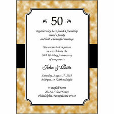 25 Personalized 50th Golden Wedding Anniversary Invitations  - AP020 - Gold