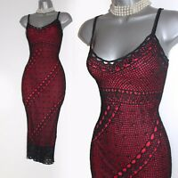 KAREN MILLEN Black & Red Straps Knitted Crochet Race Cocktail Dress 2 UK10 / 12