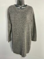 WOMENS NEW LOOK SMALL GREY MARL LONG SLEEVE KNITTED CASUAL WINTER JUMPER DRESS