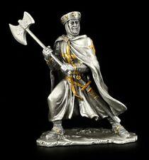 Zinn Tempelritter mit Axt und Umhang Silber-goldfarben