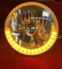 "ONE 7"" HALOGEN HEAD LIGHT AMBER HALF LED RING TURNSIGNAL HEADLAMP HEADLIGHT"