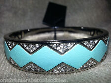 HOUSE OF HARLOW 1960 Silver tone SUNBURST BANGLE BRACELET CUFF Teal Leather NEW