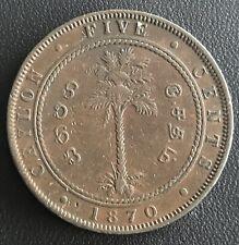 CEYLON Queen Victoria COPPER 5 CENTS, 1870, KM# 93
