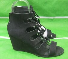 "new ladies black 3""Wedge Heel Open Toe lace up Sexy Shoes Size 7"