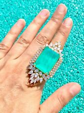 IMPERIAL ELEGANCE NATURAL GLOWING NEON COLOMBIAN EMERALD MUZO BALLERINA RING S8