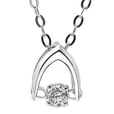 """De Buman 18k White Gold 1/20ct TDW Solitaire Diamond Pendant Necklace, 18"""""""