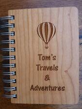 Personnalisé journal de voyage/Notebook: bois gravé A6 Travel Journal Diary