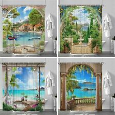 Landscape Print Waterproof Polyester Bathroom Shower Curtain With Free 12 Hooks