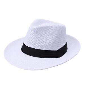 Men Women Summer Big Brim Panama Hat Fedora Cap Beach Sun Hat Flat Brim Outdoor