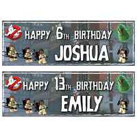 2 PERSONALISED LEGO GHOSTBUSTERS BIRTHDAY BANNERS 800 x 297mm