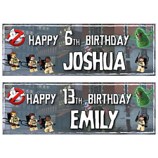 2 PERSONALISED LEGO GHOSTBUSTERS BIRTHDAY BANNERS 3ft x 1ft