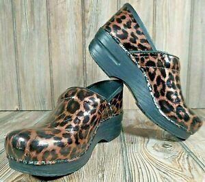 Dansko Women's Clogs Shoes Patent Leather Leopard Cheetah Print Size 38