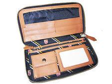 Rugby Ralph Lauren Navy Blue Polo Shields Brown Leather Organizer Clutch Wallet