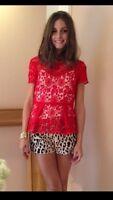Promi Zara Rot Spitze Schößchen Top extra klein XS Hemd Bluse