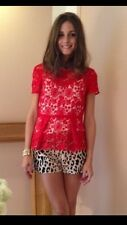 Celebrity!! ZARA RED Lace Peplum Top Large L Shirt Blouse
