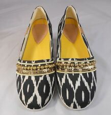 84dadbbea8a Yellow Box AVERIL Womens Ballet Flats Sz 8 Black   Beige Fabric with Gold  Bling