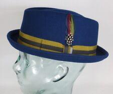 STETSON Diamond Pork Pie Hut Wollfilz blau Woolfelt Trilby Player Hat 1338104 NE