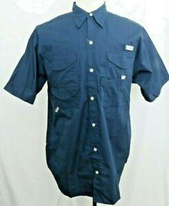 New Columbia PFG Bonehead Vented Navy Button Up Short Sleeve Shirt Men's S