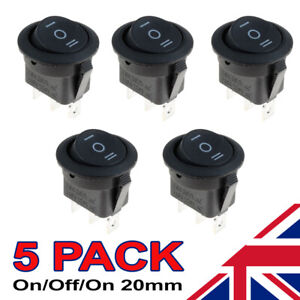 5 x On/Off/On Black Round Rocker Switch Car Automotive 20mm SPDT 2 Way Dash