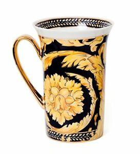 """Royalty Porcelain 12 Oz Luxury """"Floral Black"""" Tea Mug, Floral Design, 24K Gold"""
