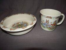 "Royal Doulton Bunnykins 6"" Round Baby Plate Toppling Cart & Cup/Mug Daisy Chains"