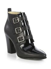 JIMMY CHOO 'Hutch' Black Patent & Leather Ankle Boots Heels Size UK 7 Eu 40