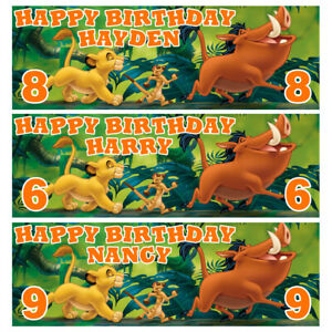 LION KING Personalised Birthday Banner - Lion King Birthday Party Banner 1x3ft