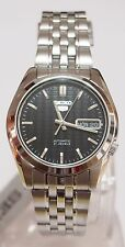 SNK361K1 SEIKO 5 Stainless Steel Band Automatic Men's Black Watch Brand New !!
