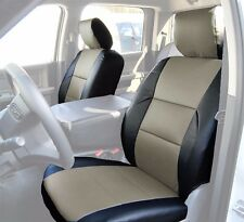 DODGE RAM 2009-2016 BLACK/GREY S.LEATHER CUSTOM MADE FIT FRONT SEAT COVER