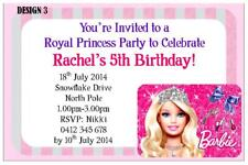 1 x BARBIE CHILDRENS GIRLS BIRTHDAY PERSONALISED INVITATIONS CARDS + MAGNETS