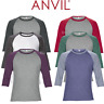 ANVIL MEN'S RAGLAN TOP 3/4 SLEEVE T-SHIRT TEE CONTRAST COLOURS CASUAL XS-2XL NEW