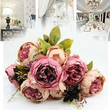 Artificial Bouquets 10 Heads Peony Silk Flowers Home Wedding Party dark pink BS1