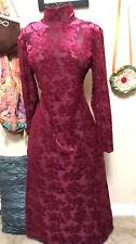Burgundy Burnout Velvet & Black Mesh~90s Vintage Gothic Maxi Dress~Dawn Joy~M/L
