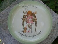 """HOLLY HOBBIE Vintage 1972 Collector's Plate USA """"Always take the time to say..."""""""