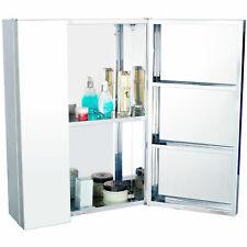 Stainless Steel Medicine Cabinet Glass Mirror Cosmetic Cupboard Bathroom Storage
