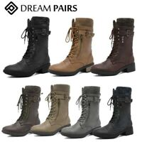 DREAM PAIRS Womens Ankle Booties Lace Up Mid Calf Military Combat Boots