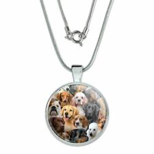 """Dogs Lab Retriever Dachshund Poodle Pat 1"""" Pendant w/ Silver Plated Chain"""