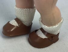 """Vintage Original Muffie Brown Doll Shoes,White Rayon Socks 8"""" Ginny Alex Ginger"""