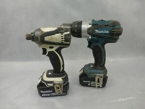 Makita 18v Cordless Drill and Impact Driver Pair Used Condition With Carry Case