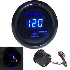 """HOTSYSTEM 2"""" 52mm Digital Blue LED Oil Pressure Press Gauge Black Universal"""