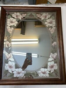 "Vintage Oval Mirror Wood Frame Hand Painted Pink Hibiscus Flowers 22""x18"" 1970's"