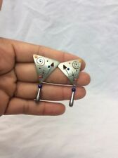 Beautiful Artisan Studio Modernist sterling Silver 925 Enamel Pierce earrings
