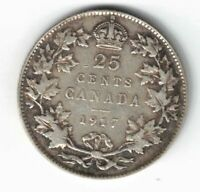CANADA 1917 TWENTY FIVE CENTS QUARTER KING GEORGE V STERLING SILVER COIN