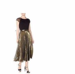 Ralph Lauren Lame Pleat Gold Metallic Silk Plisse Midi Skirt A-line Size 6Petite